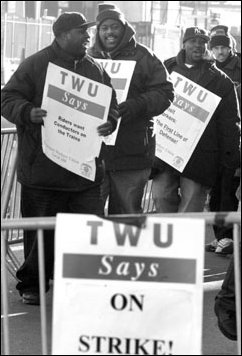 Striking New York transit workers