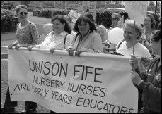 Nusrery nurses fought a spirited campaign in 2004