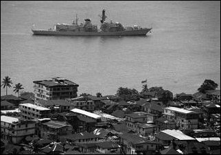 British warships off Freetown