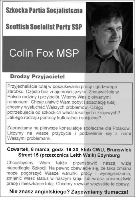 SSP election leaflet in Polish